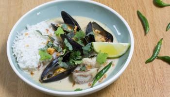 groene curry met vis