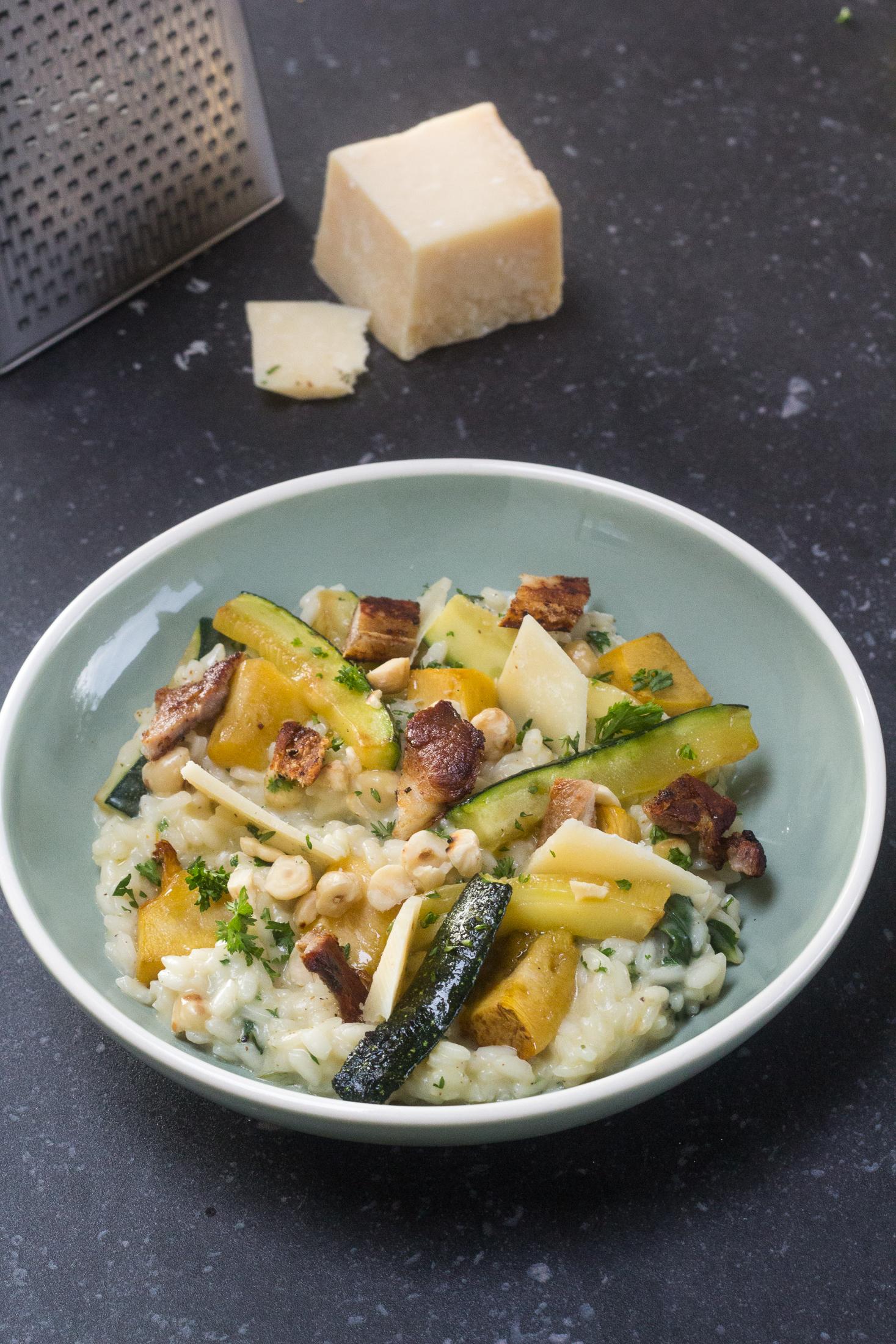 pompoenrisotto met spek en hazelnoot
