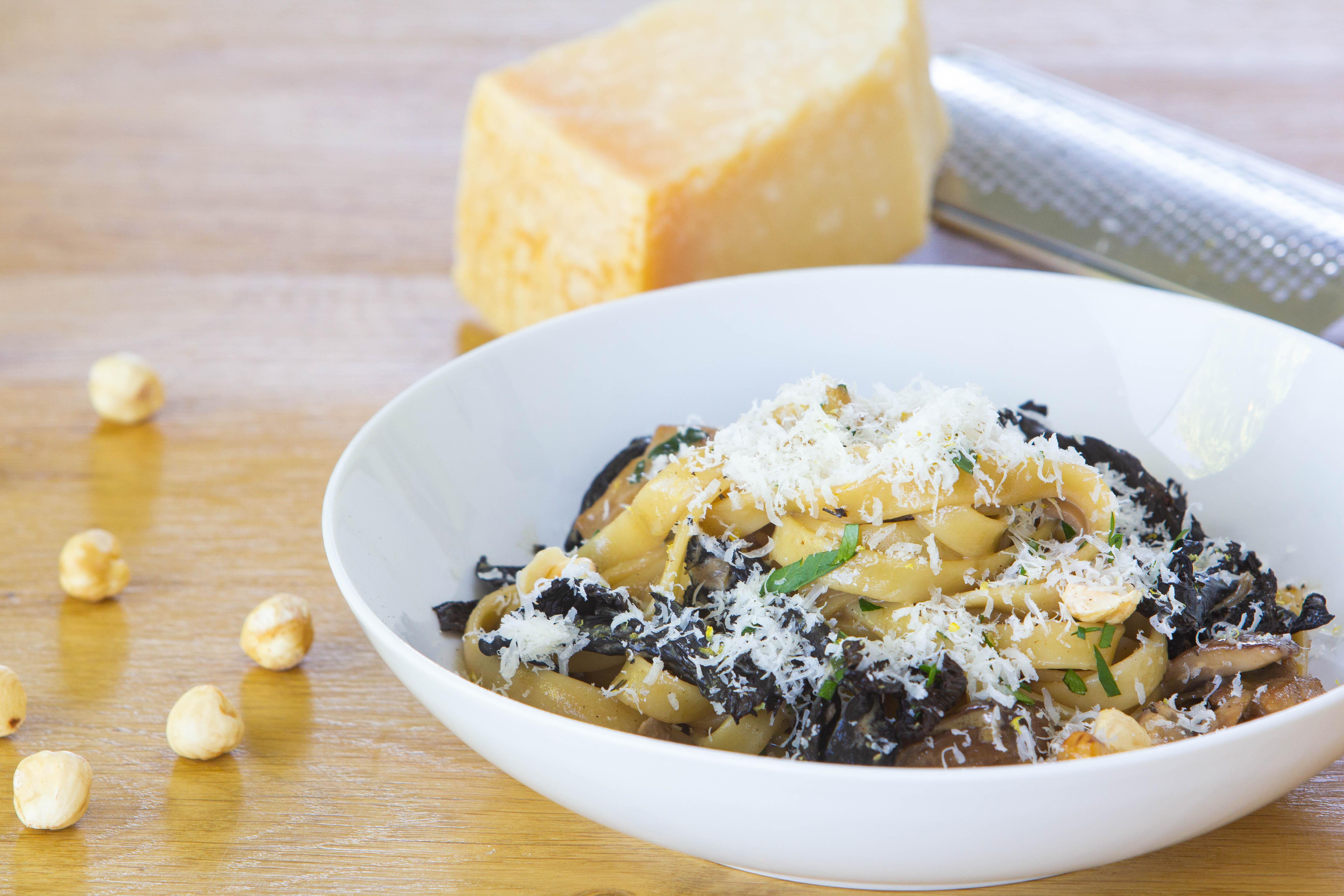 pasta met kip en paddenstoelen